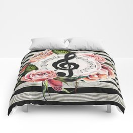 Treble Clef with Watercolor Roses Comforters
