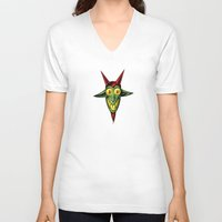 baphomet V-neck T-shirts featuring Happy Baphomet by Lowell Isaac