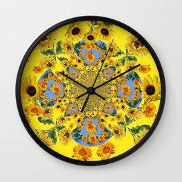 YELLOW SUNFLOWERS STORY BOOK Wall Clock
