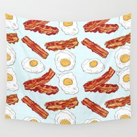 bacon Wall Tapestries featuring Bacon & Eggs by minniemorrisart