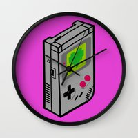 gameboy Wall Clocks featuring Gameboy Love by Artistic Dyslexia