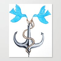 sam smith Canvas Prints featuring Sam Anchor of Love by Annette Jimerson