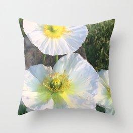 Zen White Flowers Throw Pillow