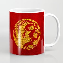 Traditional Yellow and Red Chinese Phoenix Circle Coffee Mug