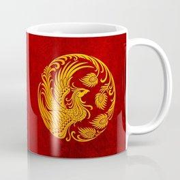 Traditional Yellow and Red Chinese Phoenix Circle Coffee Mug