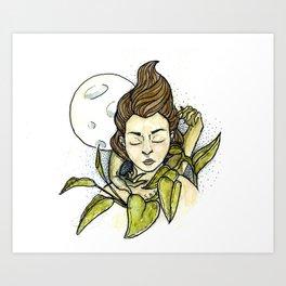 Moonlit Girl Art Print