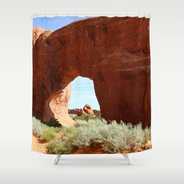 At The End Of The Trail - Pine Tree Arch Shower Curtain
