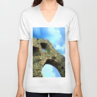 castle V-neck T-shirts featuring Castle by Brian Raggatt