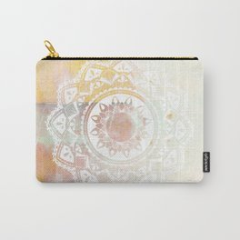 Warrior white mandala on pink Carry-All Pouch