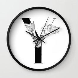 Mermaid Alphabet Series - Y Wall Clock