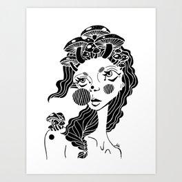 all hail the mushroom queen Art Print