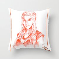 mother of dragons Throw Pillows featuring Mother of dragons by Cassie's Wonderland