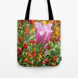 Pink tulip in bloom Tote Bag