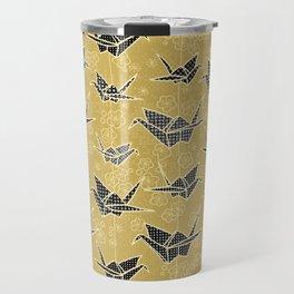 Black and Gold Japanese Origami Cranes Travel Mug