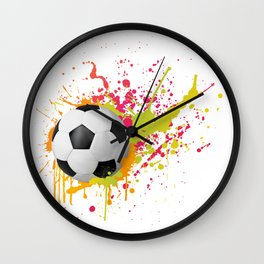 Football design with colorful splashes Wall Clock