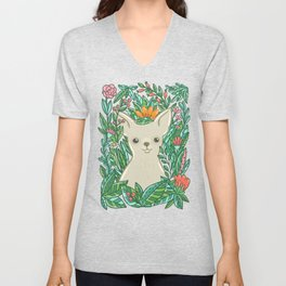 Chihuahua in the flowers Unisex V-Neck