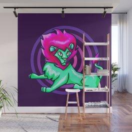 Neon lion Wall Mural