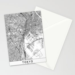 Tokyo White Map Stationery Cards