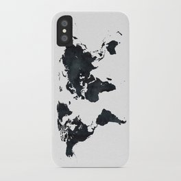 World Map in Black and White Ink on Paper iPhone Case