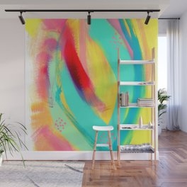 Be Proud, Be OK - tropical colorful brush summer modern abstract Wall Mural
