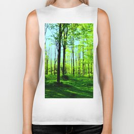 Sky Blue Morning Forest Biker Tank