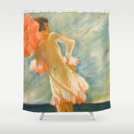 """""""At the beach"""" by J Fenneker from Jugend magazine, 1929, issue 32 Shower Curtain"""