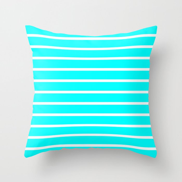 Horizontal Lines (White/Aqua Cyan) Throw Pillow