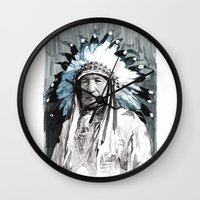 native american Wall Clocks featuring Native American Chief by Rik Reimert