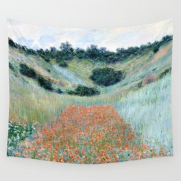 Poppy Field in a Hollow near Giverny by Claude Monet 1885 Wall Tapestry