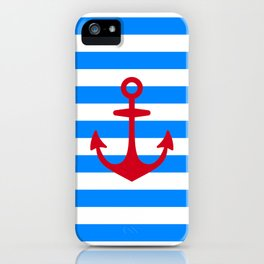 Red Anchor on Navy Blue Stripes iPhone Case