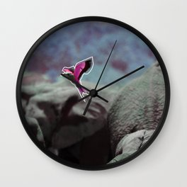 pink lilac breasted roller Wall Clock
