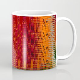 Warm red & turquoise Floor Pattern Art Coffee Mug