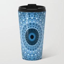 Bright blue mandala Travel Mug