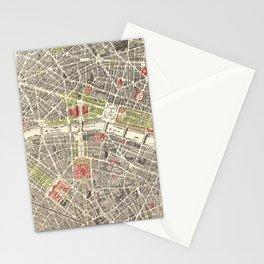 Paris, France City Map Vintage Poster, Eiffel Tower, Notre-Dame, Champs-Elysees, Arc de Triomphe, Latin Quarter Stationery Cards