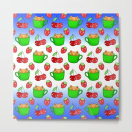 Cute happy funny Kawaii baby kittens sitting in little green espresso coffee cups, ripe red summer cherries and strawberries fruity colorful white and blue design. Metal Print