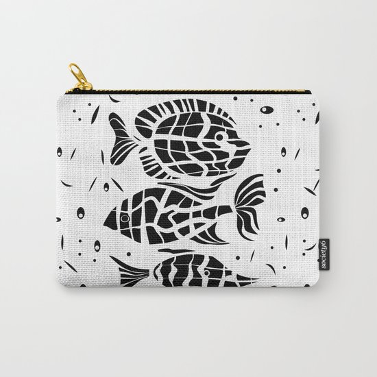 Black and white illustration . Fish . Carry-All Pouch