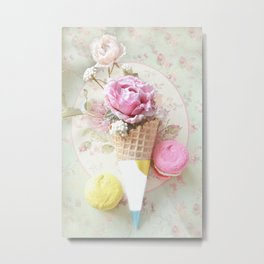 French Macarons Cone Print Metal Print