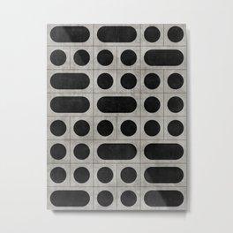 Mid-Century Modern Pattern No.15 - Black and Grey Concrete Metal Print