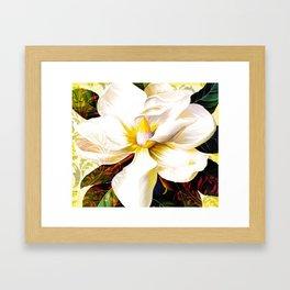 Italian Magnolia, Mediterranean floral art Framed Art Print