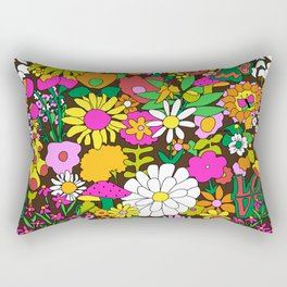 60's Groovy Garden in Chocolate Brown Rectangular Pillow