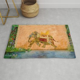 """Decorated Elephant Wall from """"Life of Pi"""" Movie Rug"""