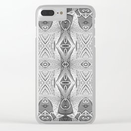Art Deco Silver Peacocks Clear iPhone Case