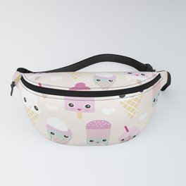 Cute kawaii summer Japanese ice cream cones and popsicle p Fanny Pack