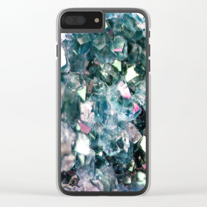 Geode Crystal Turquoise Pink Quartz Clear iPhone Case