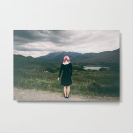 Ring of Kerry in Ireland - Girl with Pink Hair Metal Print