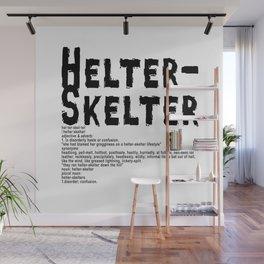 Helter Skelter (black on White) Wall Mural