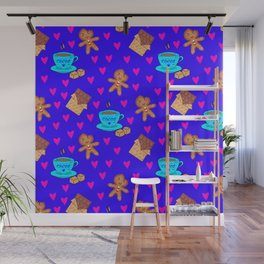 Lovely sweet gingerbread men cookies, chocolate bars, cups of hot cocoa, pink hearts winter pattern Wall Mural