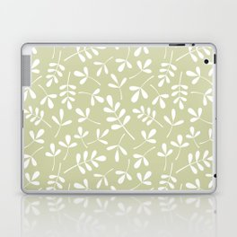 Assorted Leaf Silhouettes White on Lime Ptn Laptop & iPad Skin