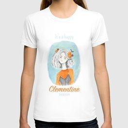 Christmas clementine lady portrait art T-shirt