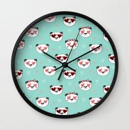 Panda Valentine's day animal love cute heart glasses valentine gifts Wall Clock